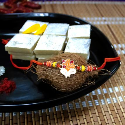 Ganesha Rakhi and Kaju Katli
