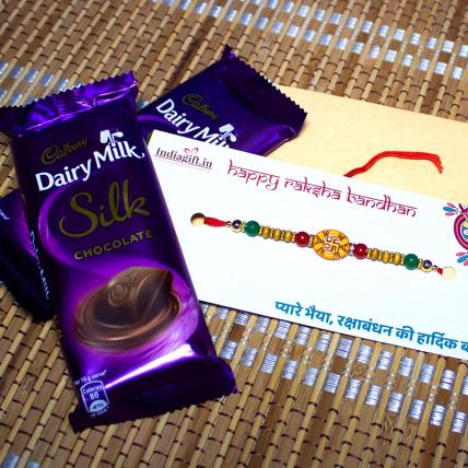Swastik Rakhi with Dairy Milk Silk Chocolates
