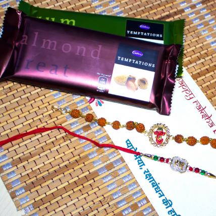 Rakhi Combo with Temptation Chocolates