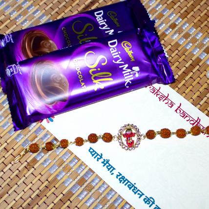 Ganesha Rakhi with Dairy Milk Silk Chocolates