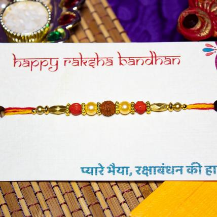 Rudraksh Rakhi with Golden Beads