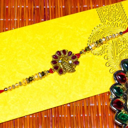 Golden Peacock Rakhi