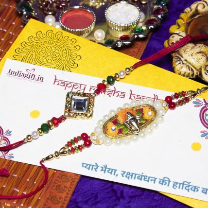 Pearl Ganesha Rakhi Set