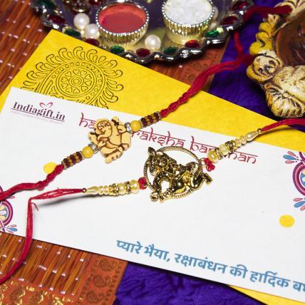 Shri Ganesha & Krishna Rakhi Set