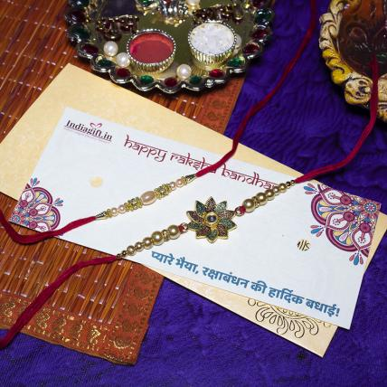 Flower & Pearl Rakhi Set