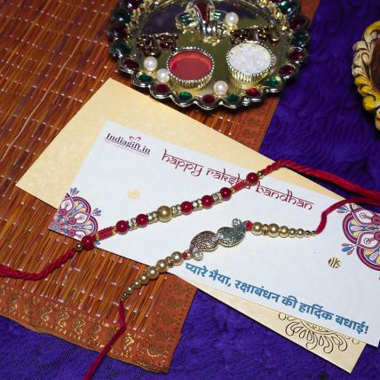 Golden Pearl Leaf Rakhi Set