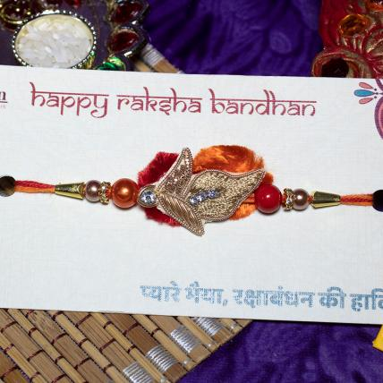Golden Leaf Zardosi Rakhi
