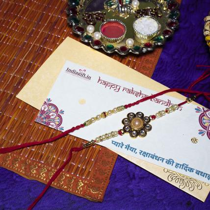 Beautiful Pearl Rakhi Set