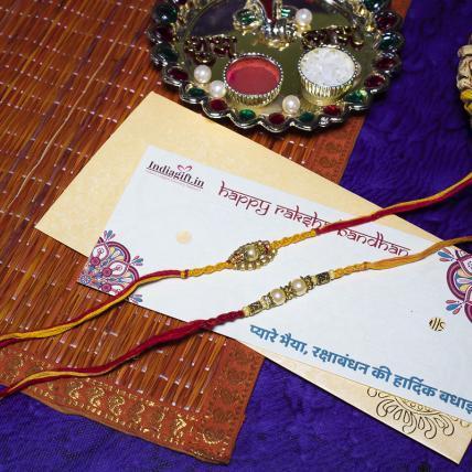Elegant Pearl Rakhi Set