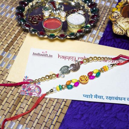 Colourful OM Leaf Rakhi Set
