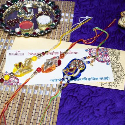 Colourful Pearl Rakhi Combo