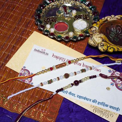 Elegant Rudraksh Rakhi Combo