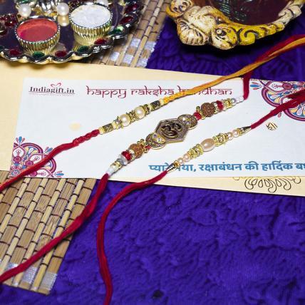 Pearl OM Rudraksh Rakhi Combo