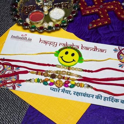 Smiley Rakhi Combo of 5