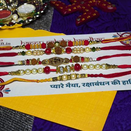 Special Rudraksh Rakhi Combo of 5