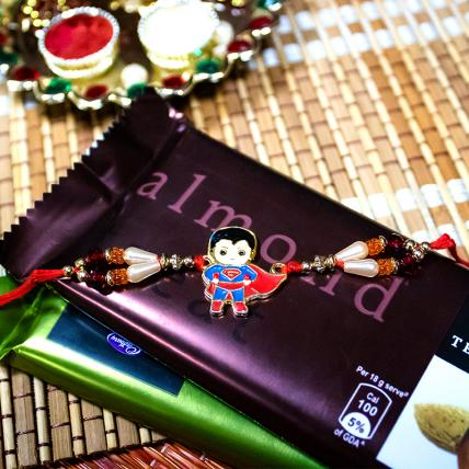 Superman Kids Rakhi with Temptation Chocolates