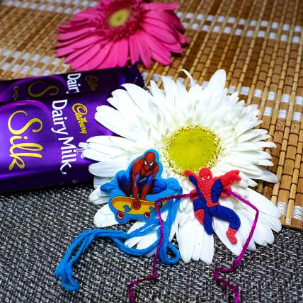 Spider Man Rakhi with Dairy Milk Silk Chocolates