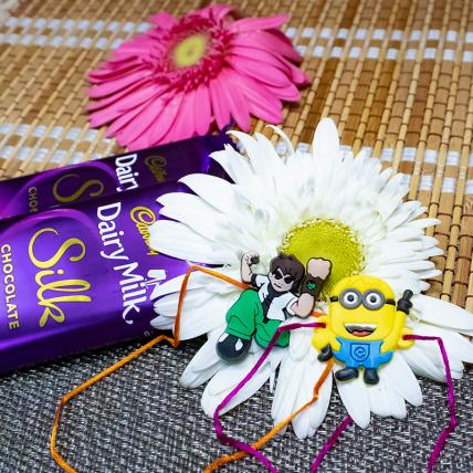 Cartoon Rakhi with Dairy Milk Silk Chocolates