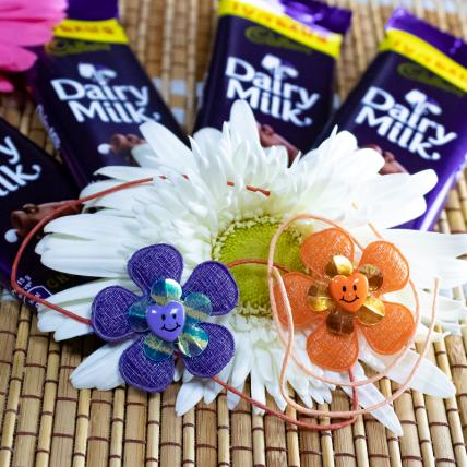 Flower Kids Rakhi Set With Chocolates