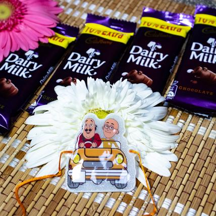 Motu Patlu Rakhi With Chocolates