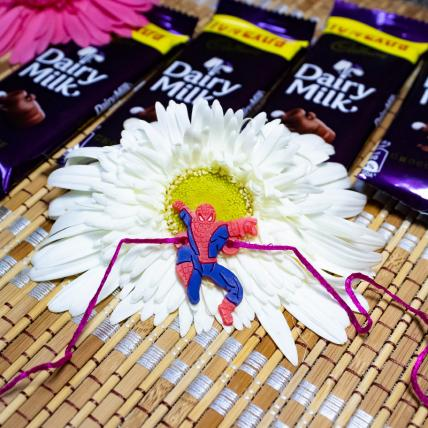 Spider Man Rakhi With Chocolates