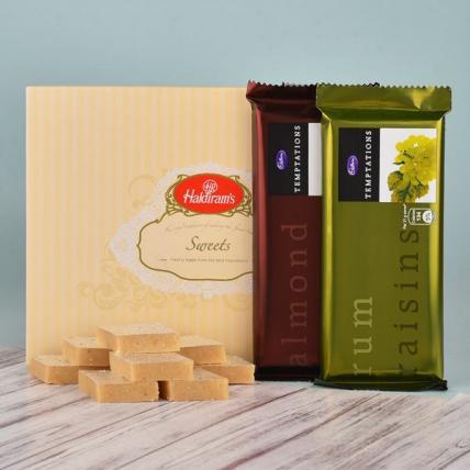 Rakhi with Kaju Katli & Temptation Chocolate