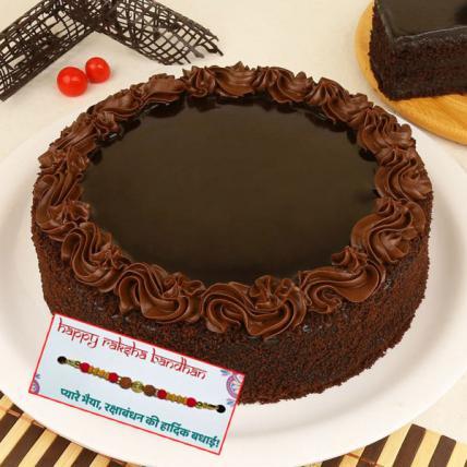 Delicious Chocolate Truffle Cake with Rakhi