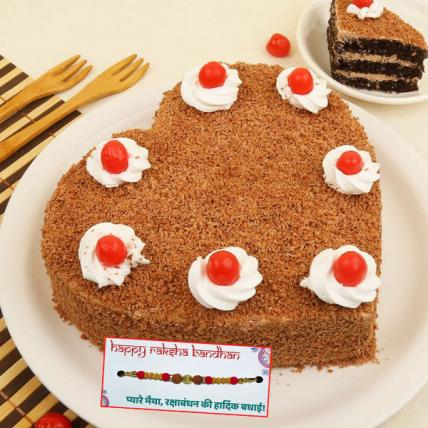 Fresh Heart Shape Black Forest Cake with Rakhi