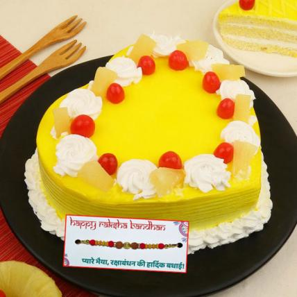 Fresh Heart Shape Pineapple Cake with Rakhi