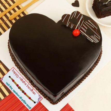 Heart Shape Truffle Cake with Rakhi
