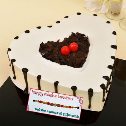 Heart Shape Black Forest Cake with Rakhi