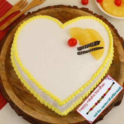 Heart Shape Pineapple Cake with Rakhi