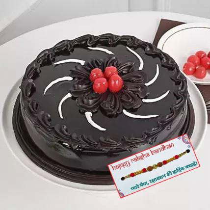 Chocolate Truffle Cream Cake with Rakhi