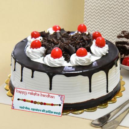 Black Forest Cream Cake with Rakhi