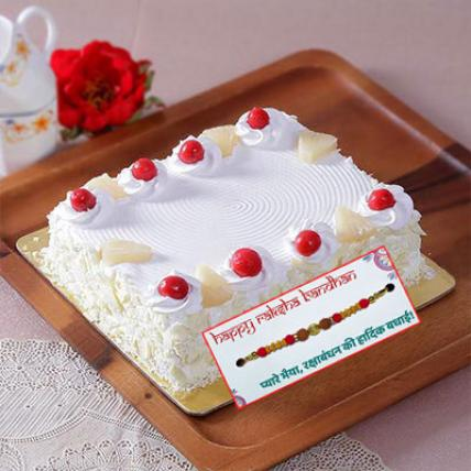 Square Pineapple Cake with Rakhi