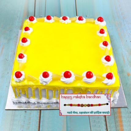 Fresh Square Pineapple Cake with Rakhi