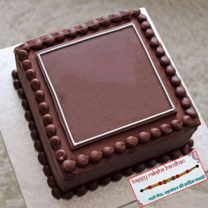 Square Chocolate Cake with Rakhi