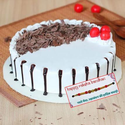 Snowy Black Forest Cake with Rakhi