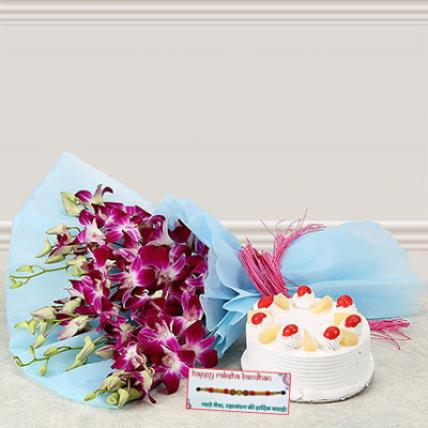 Pineapple cake and Orchids Combo with Rakhi