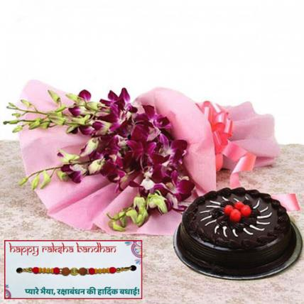 Chocolate Truffle cake and Orchids Combo with Rakhi