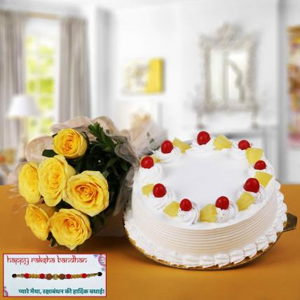 Pineapple Cake and  Yellow Roses with Rakhi