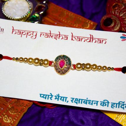 Ornamental Kundan Rakhi with beads
