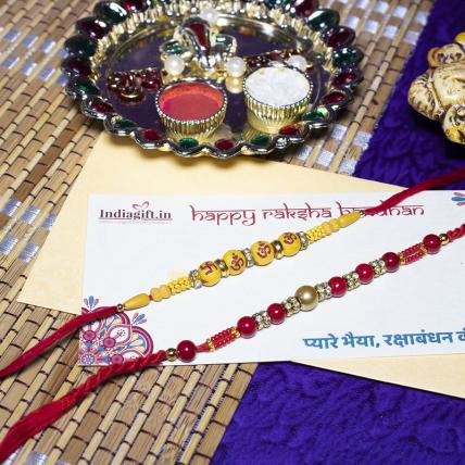 Set of 2 Rakhis - Colored Pearls