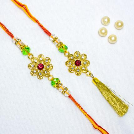 Green Paisley with Pearl Rakhi Loomba Set