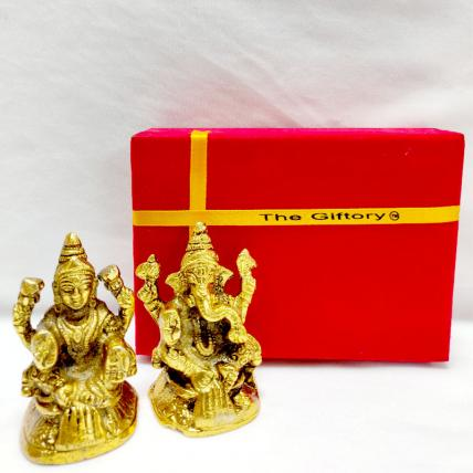 Laxmi Ganesha Metallic Idol