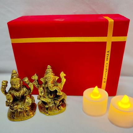 Laxmi Ganesha Idol with LED Diyas