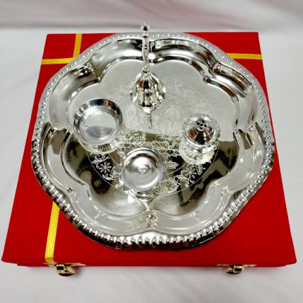 Traditional Silver Thali Set
