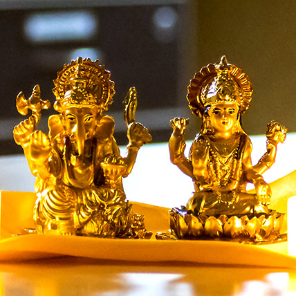 Golden Laxmi Ganesha Idol