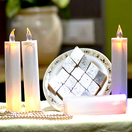 Kaju Barfi With Candles