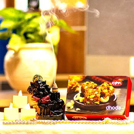 Dodha Burfi and Ganesha Idol with LED Diya
